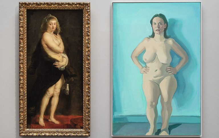 Peter Paul Rubens, Helena Fourment ( Das Pelzchen), um 1636 38 –c-Kunsthistorisches Museum Wien, Gemäldegalerie –c- KHM-Museumsverband Maria Lassnig, Iris stehend, 1972 73 –c- Maria Lassnig Stiftung, Wien